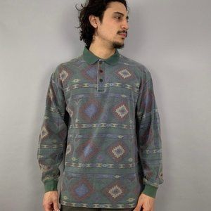 vintage polo woolrich aztec rugby